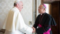 Newly appointed Substitute for the Secretariat of State, Archbishop Edgar Peña Parra with Pope Francis