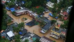 An aerial view of the floods in Kochi, in southern India's Kerala state.