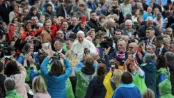 Pope Francis greets families in Croke Park, Dublin