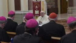 Pope Francis addresses the Bishops of Ireland during his visit to Dublin