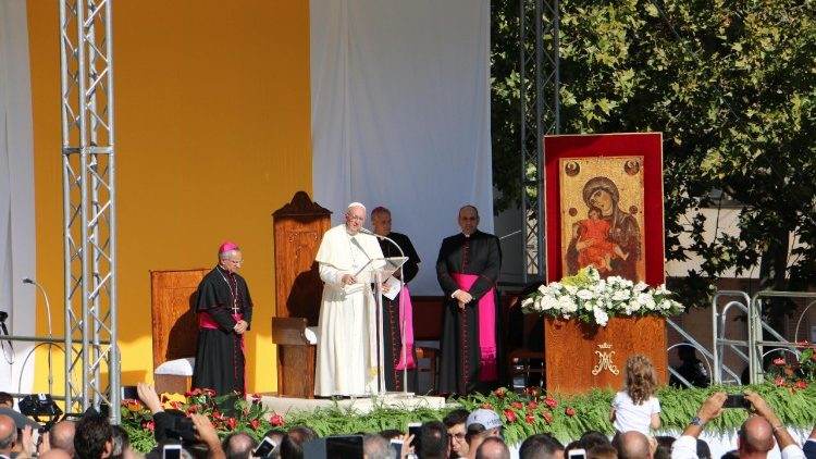 Pope Francis in Piazza Armerina, in southern Italy's Sicily island, on September 15, 2018.