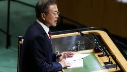 Moon Jae-In à la tribune des Nations unies, en septembre dernier.