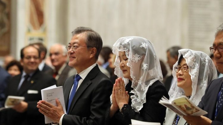 South Korean President Moon Jae-in attends Vatican Mass