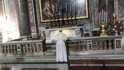 Pope Francis praying at the tomb of St.John Paul II on October 22, 2018.