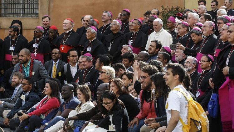 Participants in the Synod of Bishops with Pope Francis.