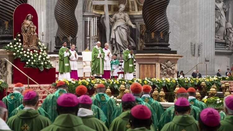 Pope Francis celebrates a Mass for the closing of the synod