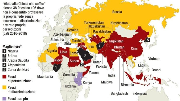 CRISTIANI PERSEGUITATI, IN 38 PAESI 'GRAVI O ESTREME VIOLAZIONI'