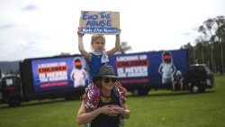 Protest demanding resettlement of children on Nauru Island.