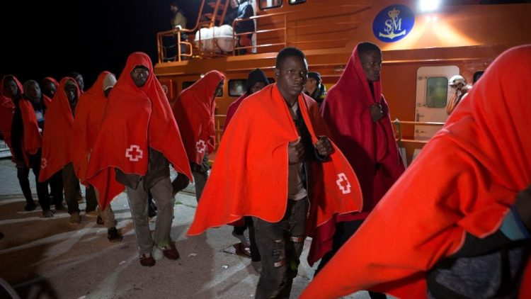 Thirty-Eight rescued migrants arrive in the port of of Granada, southern Spain