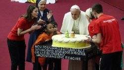 Pope Francis during audience with children and family from the dispensary of Santa Marta