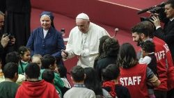 Pope Francis during audience with children and family from the dispensary of Santa Marta 17-12-18