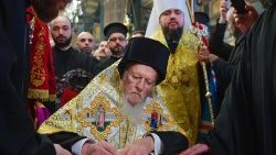 The ceremony of the Tomos of autocephaly for newly elected the head of Ukraine Orthodox Church in Istanbul