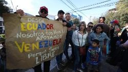 Venezuelans rally at embassy in Quito after declared himself interim president
