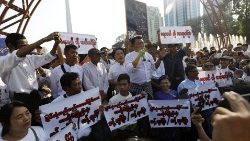 Protest against Myitsone dam project in Yangon