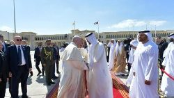 Pope Francis with Abu Dhabi's Crown Prince, Sheikh Mohammed bin Zayed Al Nahyan
