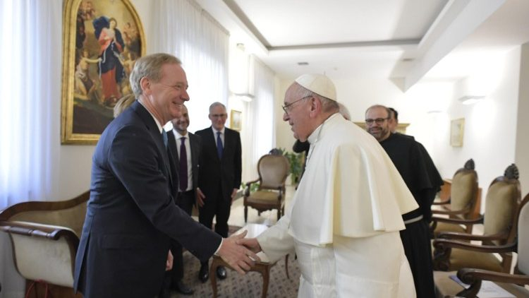 Pope Francis'audience with Microsoft President