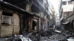 A gutted alley after a devastating fire ripped through an old district of the Bangladeshi capital, Dhaka.