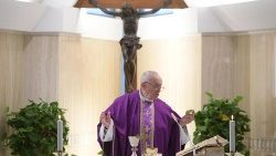 Pope Francis celebrates Mass at the Casa Santa Marta