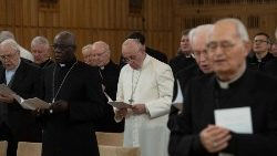 Pope Francis at his annual Lenten spiritual exercises.