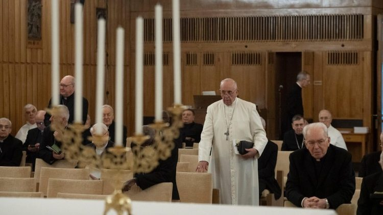 Pope Francis in Lenten retreat in Aricia,  in the chapel of  St. Paul Center