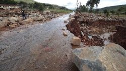 A road destroyed by Cyclone Idai