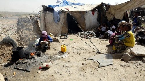 A makeshift shelter of a displaced Yemeni family near Sana'a, Yemen.