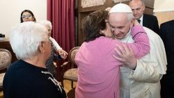 Pope Francis during his visit to a center for Alzheimer patients in Rome on 12 April, 2019.