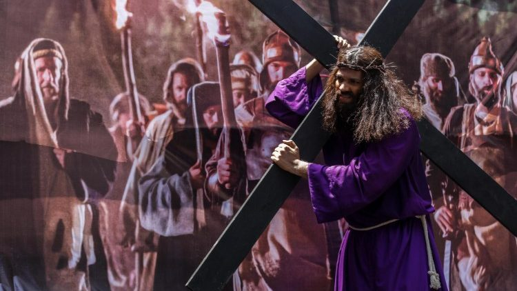 The Way of the Cross being commemorated in Mumbai, India, on Good Friday,  April 19, 2019.