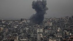 Smoke rises over Gaza after Israeli air strikes hit Palestinian territory