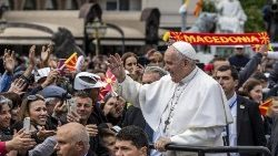 Pope Francis  arriving for Mass in Macedonia Square in Skopje, the capital of North Macedonia, on May 7, 2019.