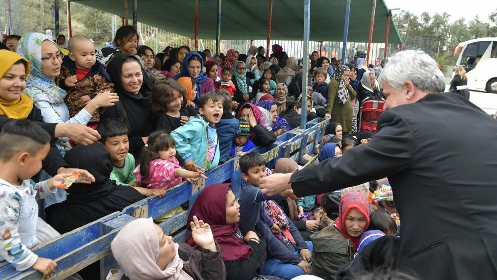 Cardinal Konrad Krajewski visits a refugee camp in Greece