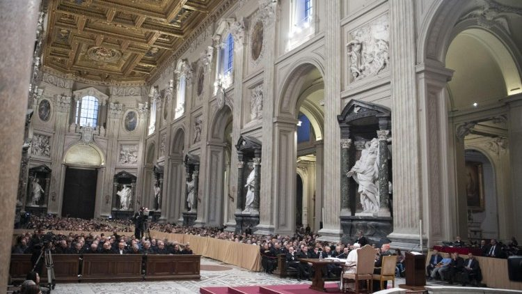 Pope Francis attends a meeting with the dioceses of Rome