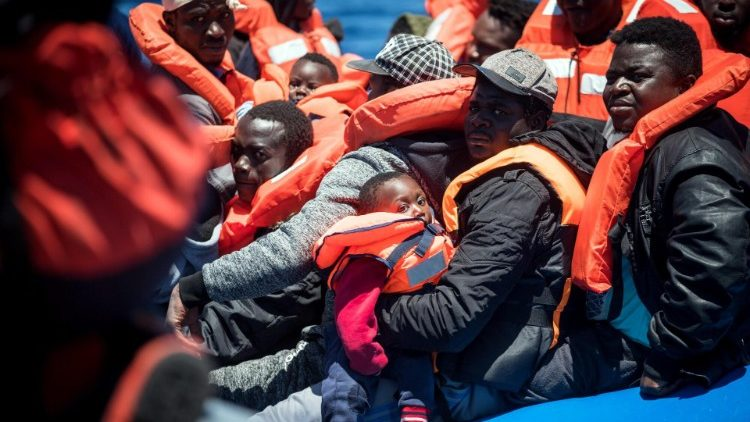 Migrants from sub-Saharan Africa attempt to cross the Mediterranean in a dinghy