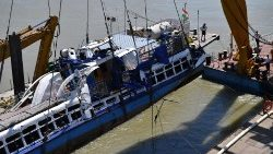 Recovery operation for sunken ship in River Danube in Budapest