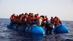 Migrants attempting to cross the sea from Libya