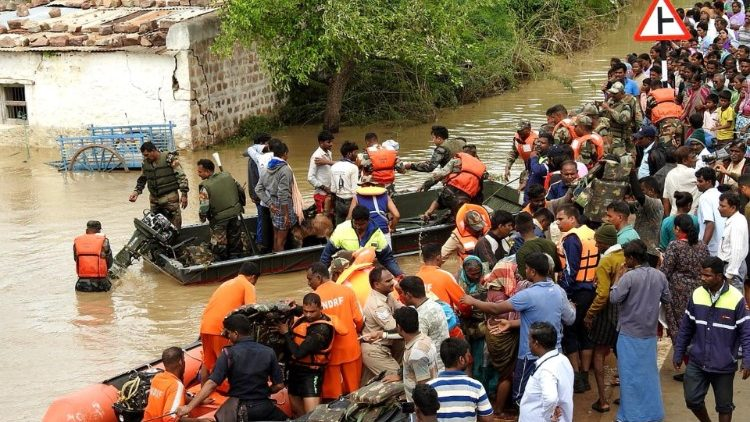 Rescue operations in flood affected areas in North Karnataka, India