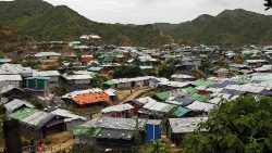A view of the Rohingya refugee camp at Teknaf, Cox's Bazar, Bangladesh