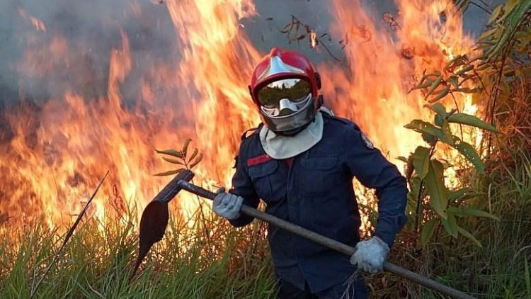 A Rio Branco fireman fights the fire in Brazil's Amazon