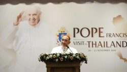 Archbishop Paul Tschang In-Nam, Apostolic Nuncio to Thailand, announcing Pope Francis' apostolic visit to Thailand.