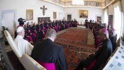 "Pope Francis meeting a group of Indian bishops on their ""ad limina"" visit."