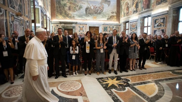 Pope Francis meeting participants in the International Meeting of Academic Centres and Schools of New Evangelization.