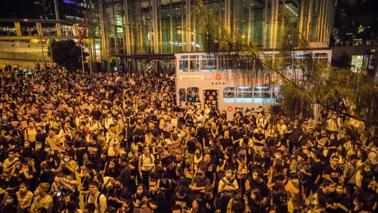 Protesters gather in central Hong Kong