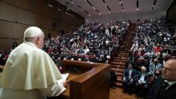Pope Francis addresses students at the Pontifical Lateran University on 31 October 2019