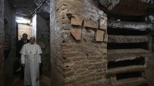 Pope Francis on a visit to the Catacombs of Priscilla on All Souls Day
