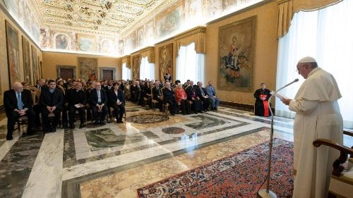 Pope Francis addressing the representatives of staff and sudents of Sophia University, Florence