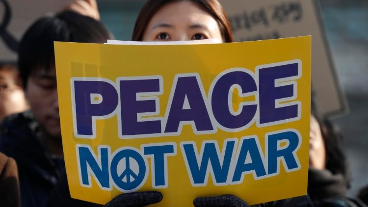 Protest against prospect of war between USA and Iran, in Seoul