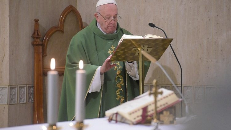 Pope Francis celebrates a mass in St. Marta