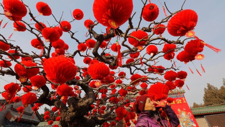 Decorations in Beijing, China, for the upcoming Lunar New Year.