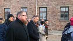 Piotr Cywinski arrives for the 75th anniversary of the liberation of the former Nazi-German concentration and extermination camp at Auschwitz-Birkenau