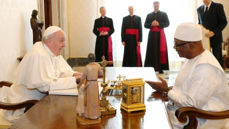 Pope Francis meets Mali's President Ibrahim Boubacar Keita during a private audience at the Vatican